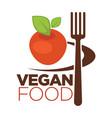 vegan food icon for vegetarian cafe menu of apple vector image