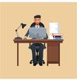 man business office sitting work laptop desk books vector image
