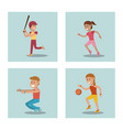 set kids playing physical education school sport vector image