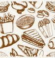 fast food - one color hand drawn seamless pattern vector image