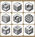 cube icon set 5 vector image vector image