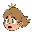 cartoon face princess crown character beauty vector image
