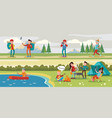 traveling camping horizontal banners vector image