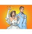 Wedding groom and happy bride vector image