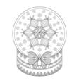 Zentangle Chriatmas snow globe with snow flake vector image