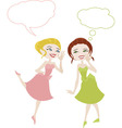 two girls in cartoon style sharing secrets vector image
