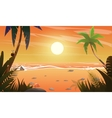 view on sunset at the beach vector image