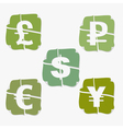 Set of currency stickers vector image vector image