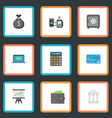 flat icons billfold accounting remote paying and vector image