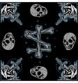 Roses frame Skull and Bones cross vector image