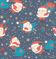 Seamless Christmas pattern with Cute Santa Claus vector image