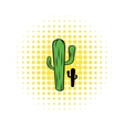 Cactus icon in comics style vector image