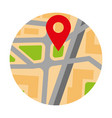 colorful circle map with red pin location marker vector image