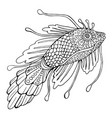 fantasy fish coloring page for children and vector image