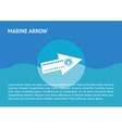 Flat arrow icon at the sea vector image