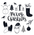 hand drawn christmas objects vector image