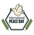 international peace day poster pigeon bird symbol vector image