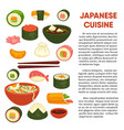 japanese cuisine promotional poster with vector image