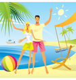 Romantic couple enjoy vacation on the beach vector image