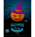 Spooky pumpkin in witch hat vector image