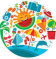 Summer vacation template of summer icons vector image