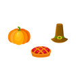 thanksgiving set - pumpkin fruit pie pilgrim hat vector image