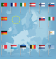 Eu countries flag pins over european map vector
