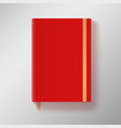 Red copybook with elastic band and gold bookmark vector image
