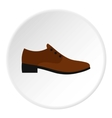 Brown man shoe icon flat style vector image