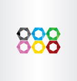 colorful hexagon icon frame set vector image