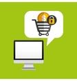 computer protection money coin icon design vector image