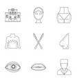 cosmetic surgery icon set outline style vector image