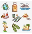 Hand drawn travel icons traveling on airplane vector image