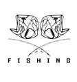 vintage fishing emblem with skull of bass vector image