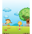 Young girls playing vector image vector image