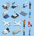 airport isometric elements set vector image