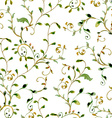 seamless texture with foliate ornament watercolor vector image vector image
