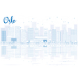 Outline Oslo Skyline with Blue Buildings vector image