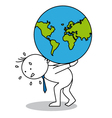 Business man carrying the globe vector image
