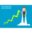 Happy businessman or manager flying on jetpacks to vector image