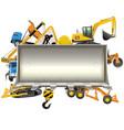 construction frame with bulldozer shovel vector image