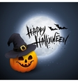 Halloween Party Background with Pumpkin and Moon vector image
