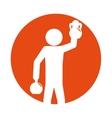 man silhouette weight kettlebell hand up vector image