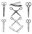 set of the scissors and razors icons isolated on vector image