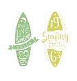 Summer Holidays Vintage Emblem With Surfboard vector image