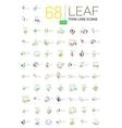Thin line leaf geometric icons vector image
