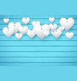 Wooden background with white hearts vector image