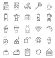 Coffee shop line icons on white background vector image