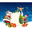 Christmas card with Santa Claus reindeer and elves vector image vector image