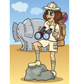 cute woman on african safari vector image vector image